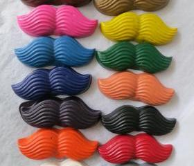 Large Mustache Crayon Set of 14