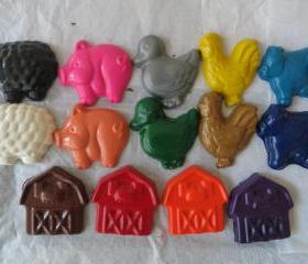 Large Farm Animal Crayon Set of 14