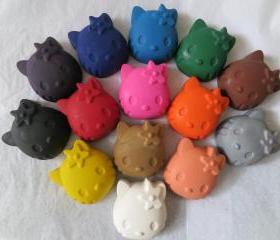 Large Cat Kitty Crayon Set of 14