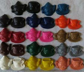 Tea Party Teapot Cup and Saucer Crayon Set of 28
